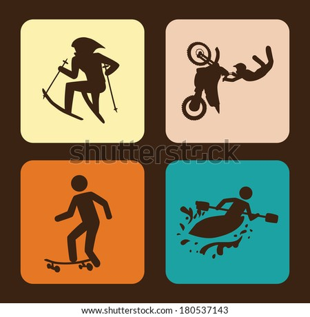 extreme sport over brown background vector illustration - stock vector