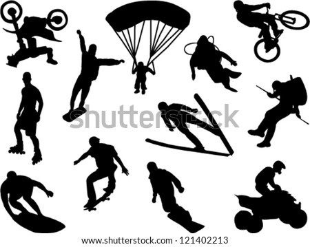extreme sports collection vector - stock vector