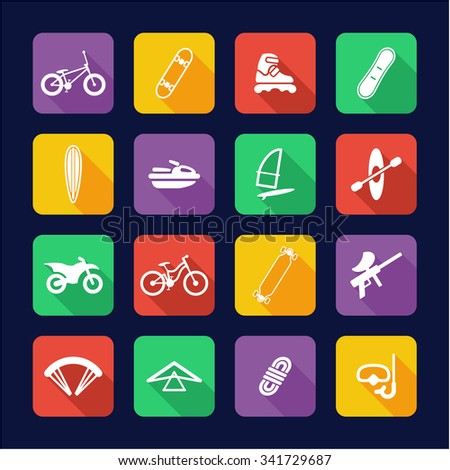 Extreme Sports Icons Flat Design  - stock vector