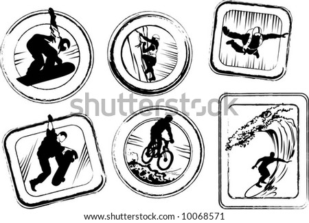 Extreme stamps - stock vector