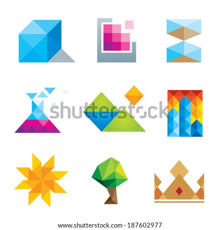 Extremely creative beautiful design polygons geometric art logo icon set - stock vector