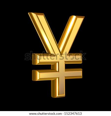 Extruded vector golden yen sign on black background - stock vector