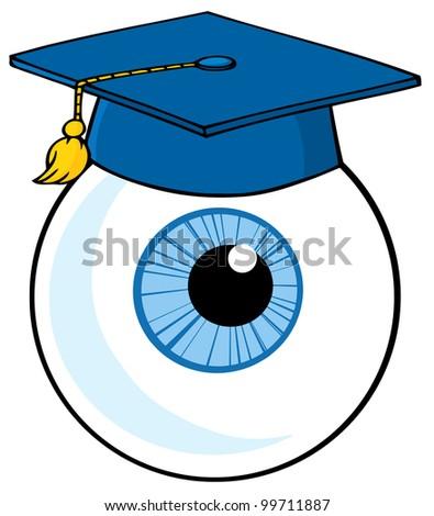 Eye Ball Cartoon Character With Graduate Cap. Vector Illustration - stock vector