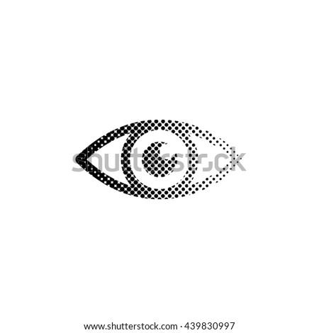 Eye - black vector icon;  halftone illustration - stock vector