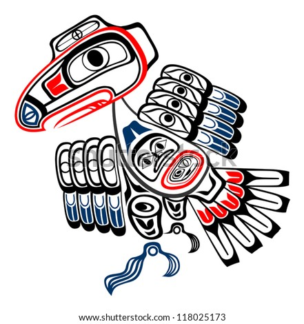 Eye-catching vector illustration of Classic Haida stylized raven in red, blue and bold black,  EPS 8 compatible with no gradients or effects, all layers labeled for easy editing. - stock vector