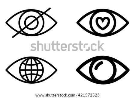 Eye design. Cartoon icon. White background, vector silhouette style - stock vector