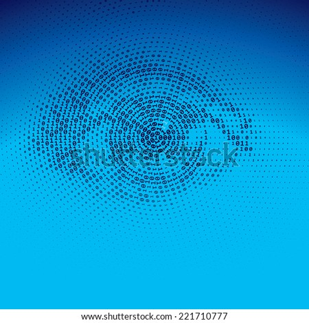 Eye drawn with binary codes. Eps8. CMYK - stock vector
