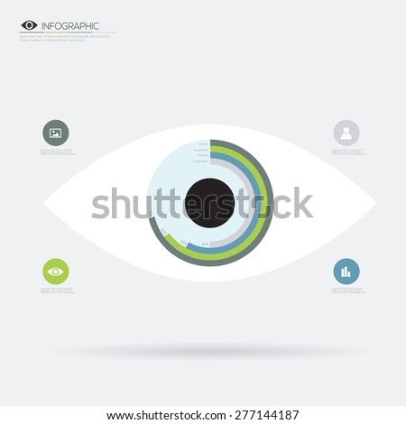 Eye flat icon infographic. Vector illustration - stock vector