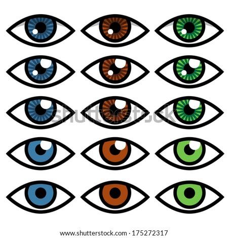 Eye icon in vector set - stock vector