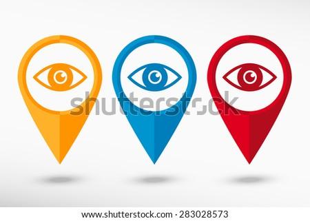 Eye icon map pointer, vector illustration. Flat design style - stock vector
