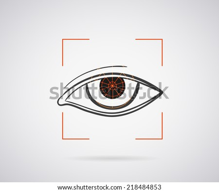 Eye identification icon with red laser frame - stock vector
