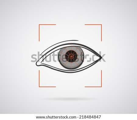Eye identification icon with red laser light - stock vector