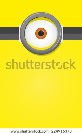 Eye in glasses on yellow background - stock vector