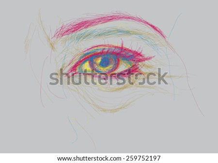 Eye in time / Expressive illustration of human ageing  - stock vector