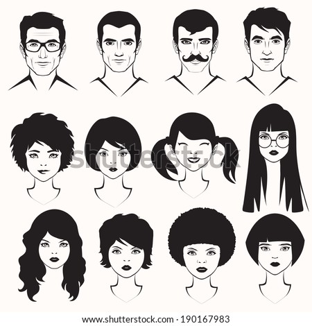 eye lips and hair, men and woman face parts, head character - stock vector