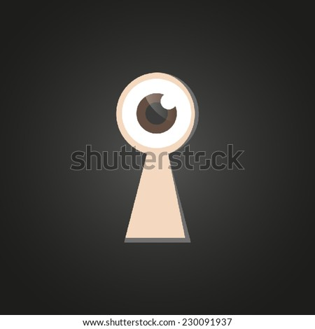 Eye looking through keyhole - stock vector