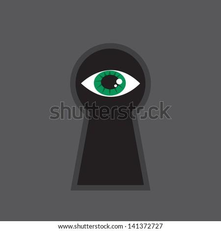 Eye looking through large keyhole  - stock vector