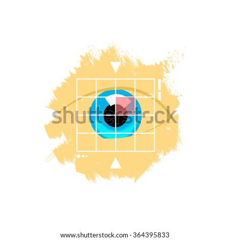Eye retina scan vector emblem illustration, virtual verification identity concept, scanning medical test, recognition innovation, identification, modern contemporary technology logo isolated on white - stock vector