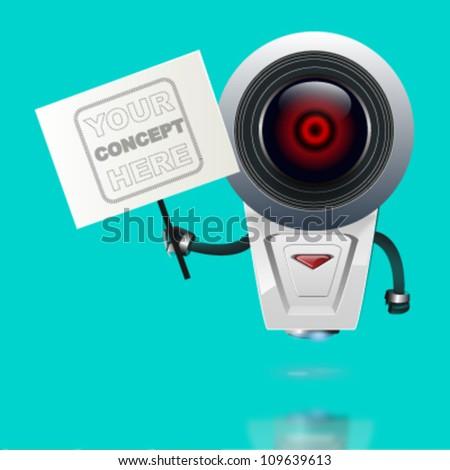 eye robot holding a post. vector design - stock vector