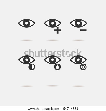 Eye sight icons set - stock vector