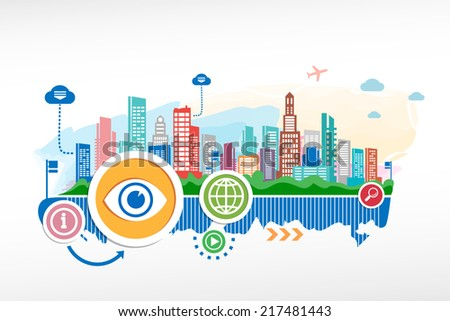 Eye sign and cityscape background with different icon and elements. Design for the print, advertising. - stock vector
