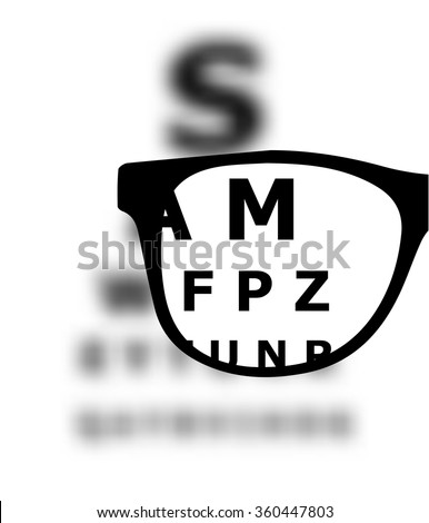 Eye test blurred with glasses vector - stock vector