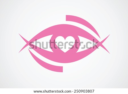 eye with heart / vector design - stock vector