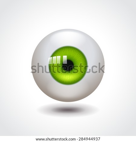 Eyeball with green iris photo realistic vector illustration - stock vector
