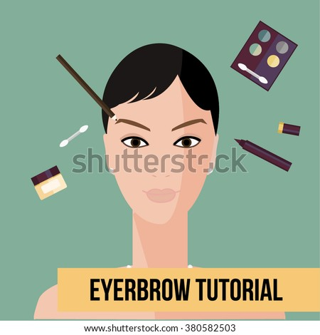 Eyebrow tutorial. Make up tips. Red lips makeup. Flat elements of cosmetics and woman face. Vector woman face with cosmetic.Flat illustration of cosmetic elements. Flat icon of cosmetics product.   - stock vector