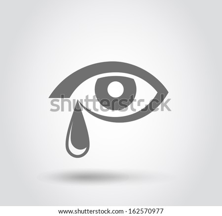 Eyes crying icon, Flat style, vector - stock vector