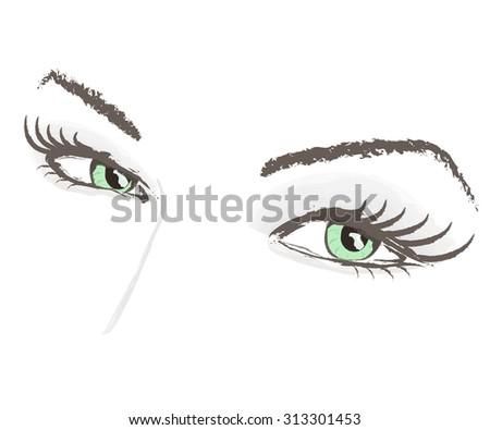 eyes lashes beauty face portrait eyebrow vector illustration - stock vector