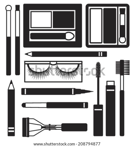 Eyes makeup silhouette icons vector set - stock vector
