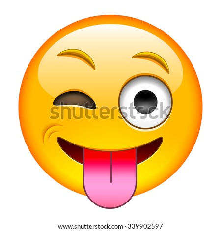 Eyewink with Tongue Emoticon. Isolated Vector Illustration on White Background - stock vector