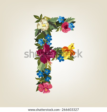 F letter. Flower capital alphabet. Colorful font. Uppercase.  Vector illustration. - stock vector