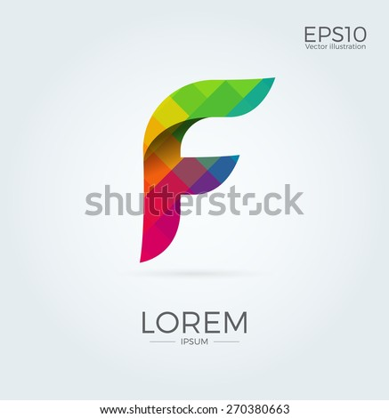 F Letter Logo Icon Mosaic Pattern Design template Element - stock vector