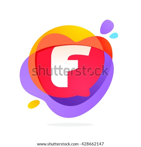 F letter logo with speech bubble and hearts. Vector typeface for communication app icon, corporate identity, card, labels or posters. - stock vector