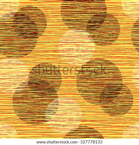 Fabric material burlap textured fibers with a pattern of circles. Seamless pattern of polka dots, seamless background. - stock vector