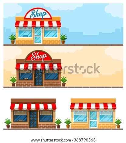 Facade exterior shop flat design with sign. Store and grocery facade banner. Vector illustration. Arctitecture isolated on white background.  - stock vector