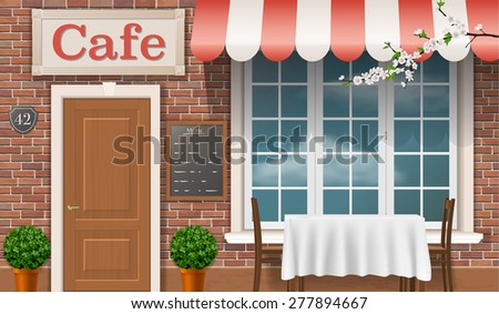 Facade of a traditional cafe with a window, door, awnings. - stock vector