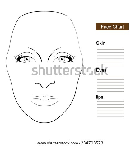 Face chart Makeup - stock vector