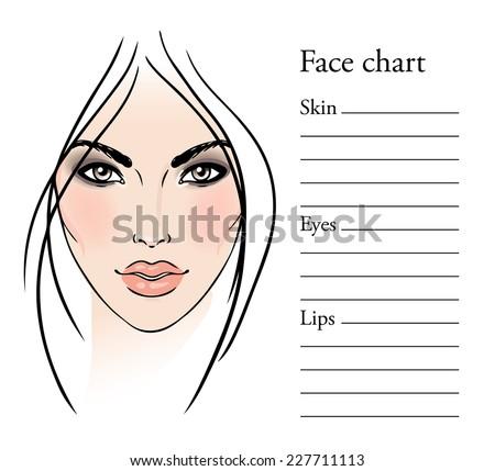 Face chart Makeup Artist Blank. Template. Vector illustration.  - stock vector