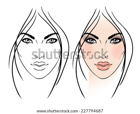 blank female face template - photo #16