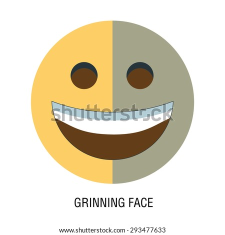 Face. emoticon on a white background, with big toothy smile. Grinning face - stock vector