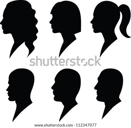 face in profile - stock vector