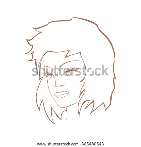 Face of a cute girl. Images for fashion and cosmetics . - stock vector