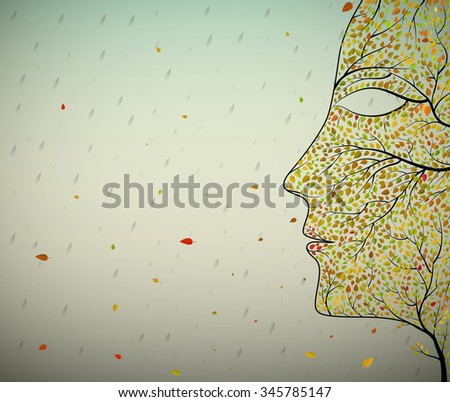face of autumn, human face profile building from small colored leaves and tree branch and rain falling, vector, - stock vector
