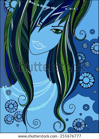 face of  beautiful girl with a pearl necklace. face mermaid, sea goddess, symbol of luxury skin care products, hair. illustration for women's magazine, website, beauty salon. emerged from the sea foam - stock vector