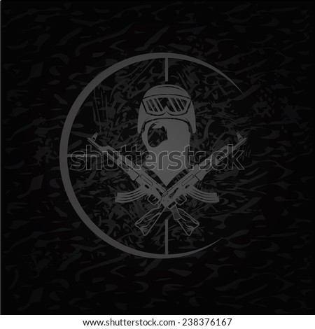 face of military man with automatic guns and target - stock vector
