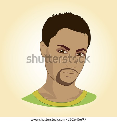 Face of young man, vector illustration - stock vector