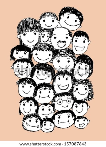 Face people sketch Crowd of funny peoples - stock vector